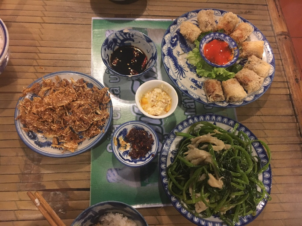 Fried jackfruit, fried Nem and stir-fried morning glory with mushrooms @ Lien Hao