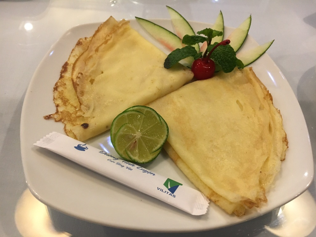 Nicely presented lemon (lime?) crepe @ our hotel in Hanoi
