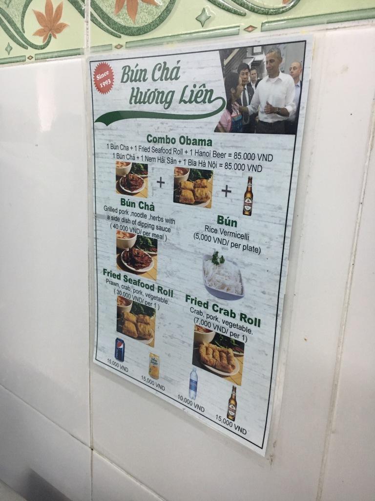 The menu @ Bun Cha Huong Lien