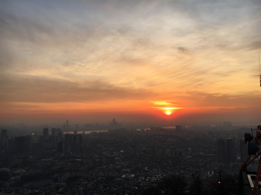 Sunset from base of N Seoul Tower.