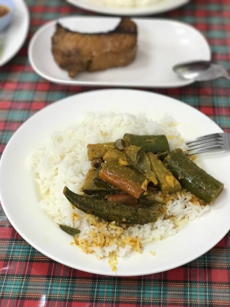 Gaeng Gari Pla with rice @ Krua Charifa. Photo credit: Aaron.