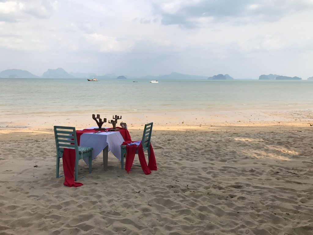 Option to spend 6000 THB ($225 CAD) on a romantic Valentine's Day dinner on the beach, but we didn't do it.