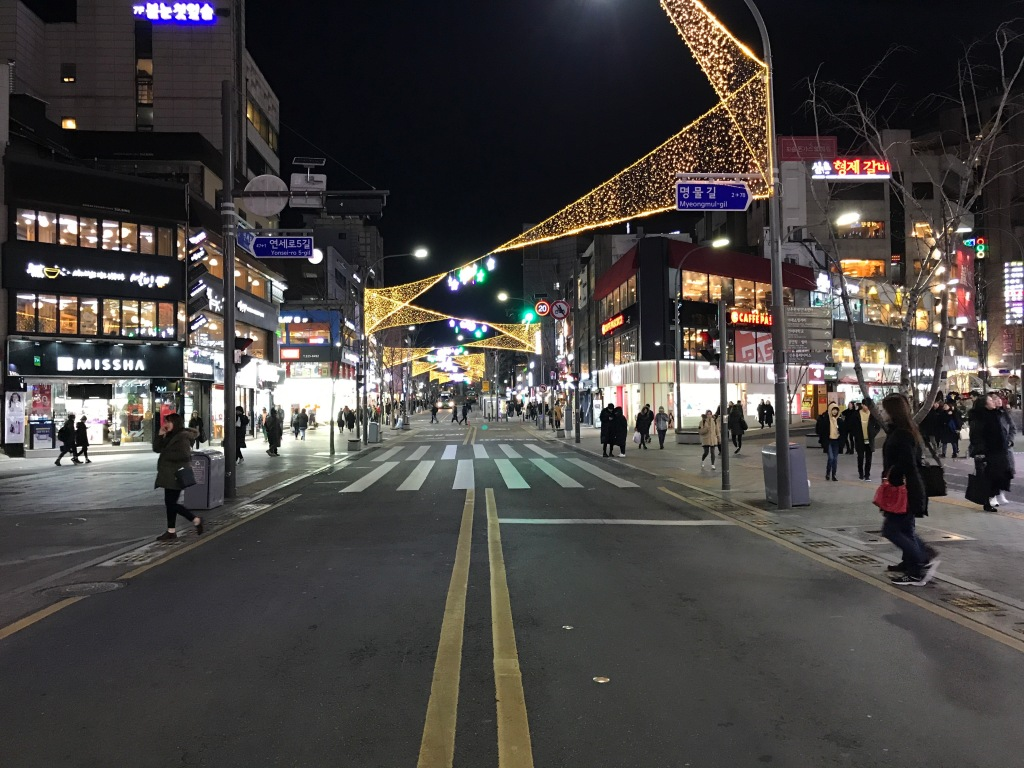 The pretty streets of Sinchon at night. Photo credit: Aaron.