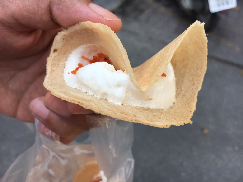 Mini taco-looking desserts from a street stall outside Wat Suan Dok.