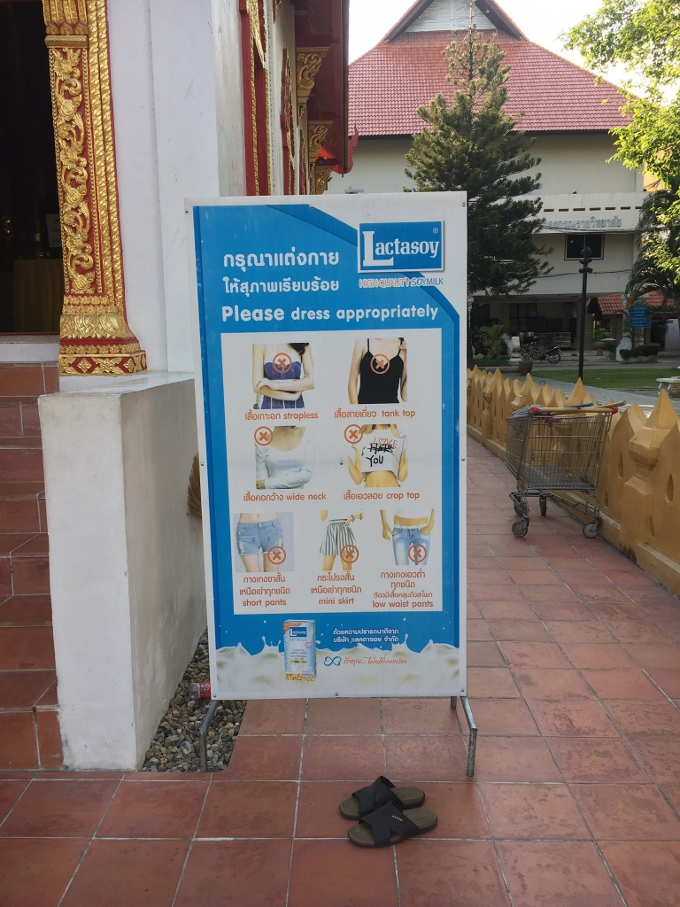 Dress code inside temples.