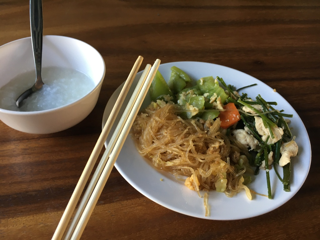 My breakfast along with my triplet chopstick (came out of the package like that) @ Blu Monkey Hotel and Hub.