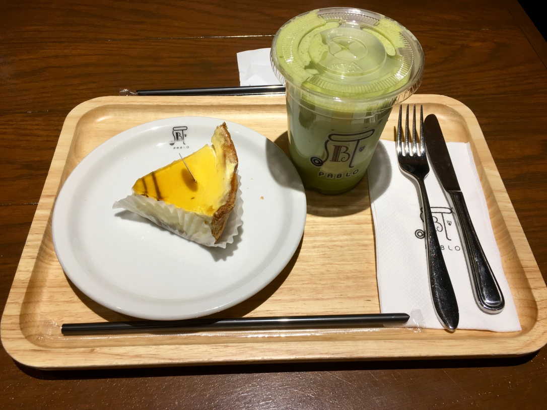 Pablo cheese tart with iced matcha green tea