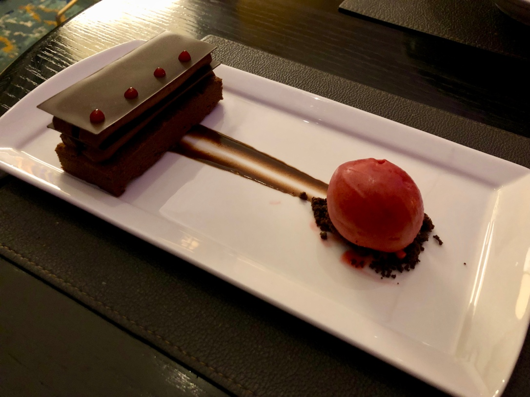 Chocolate cake with raspberry sorbet @ Cafe Boulud