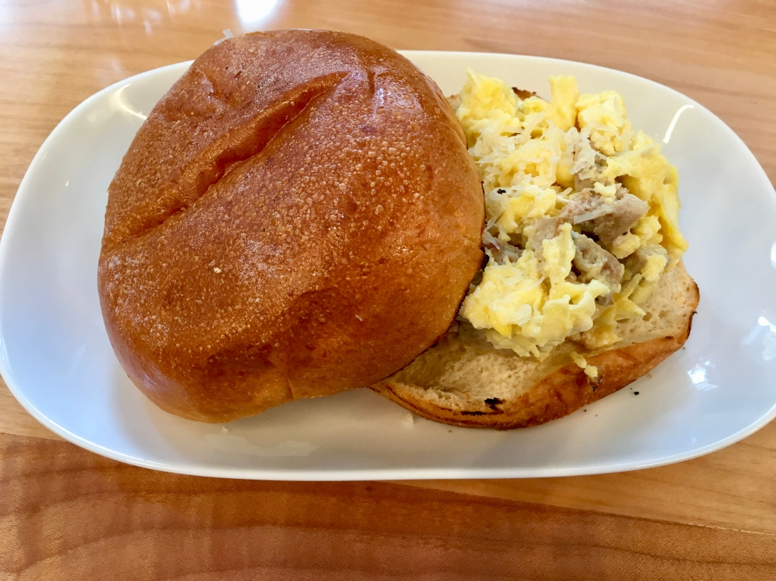 Egg and turkey sausage breakfast sandwich @ Tractor Foods
