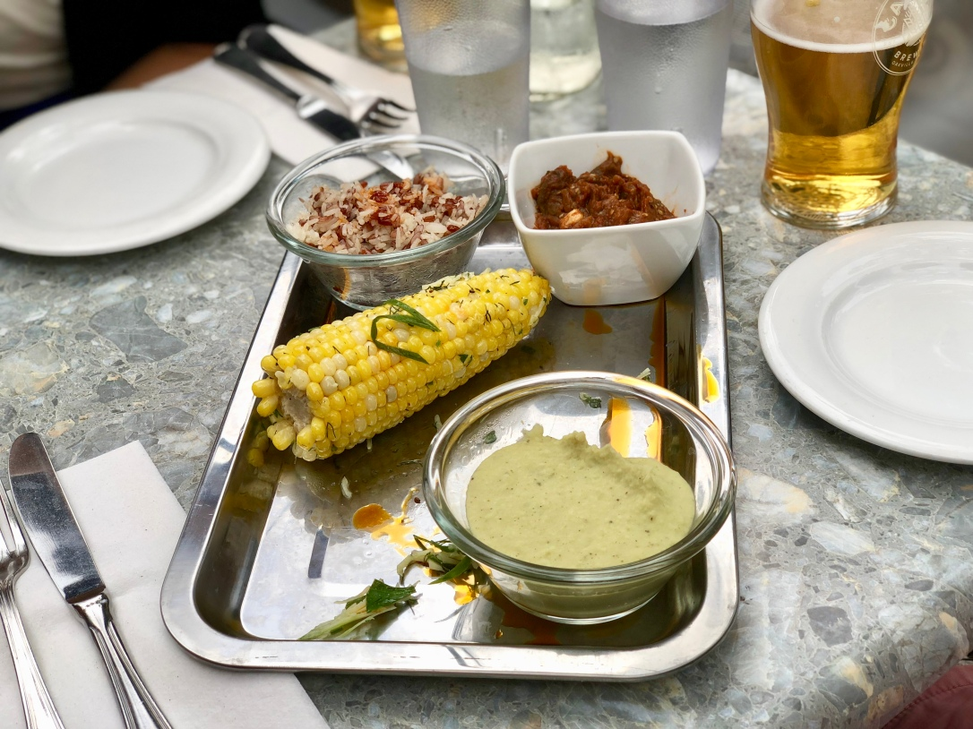 Rice, spicy eggplant, corn on the cob and white bean puree @ Backdrop Restaurant and Bar