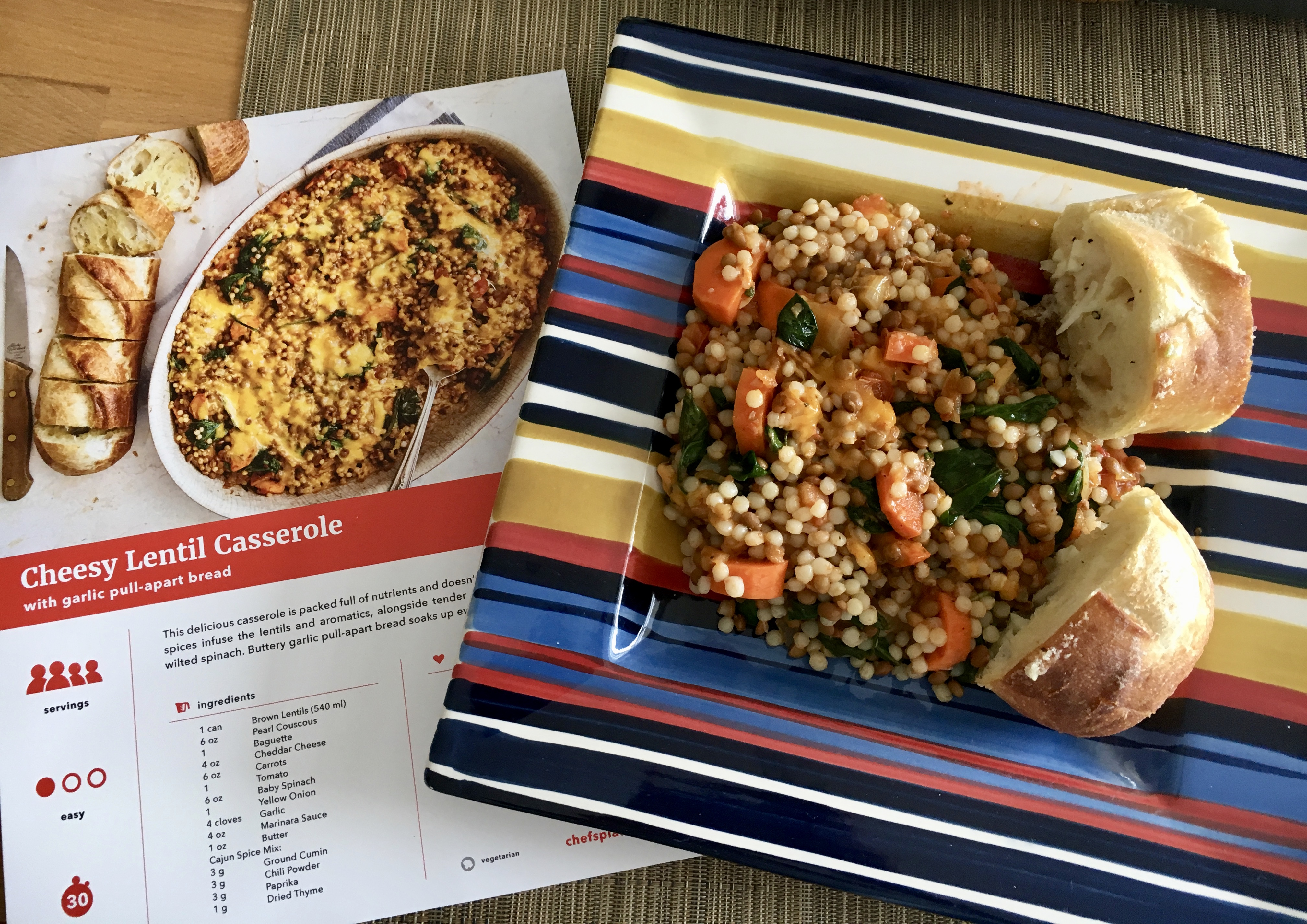 Delicious cheesy lentil casserole recipe from Chefs Plate