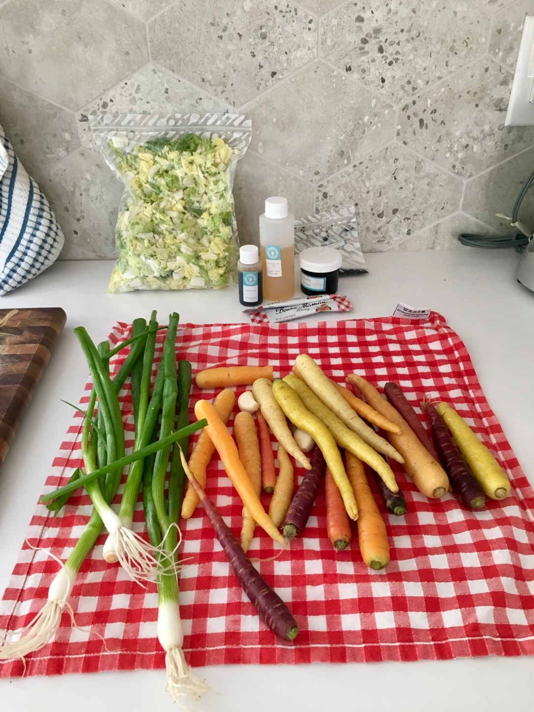Mise en place for a Good Food recipe