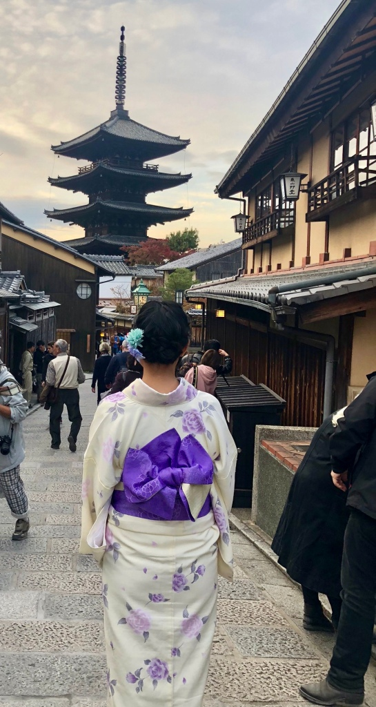 Strolling along the streets in my kimono