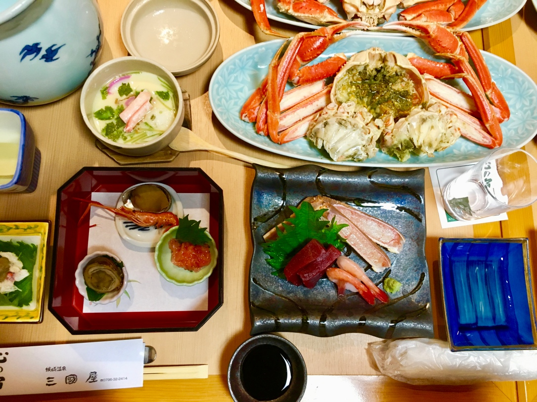 Crab soup, steamed crab, and crab sashimi
