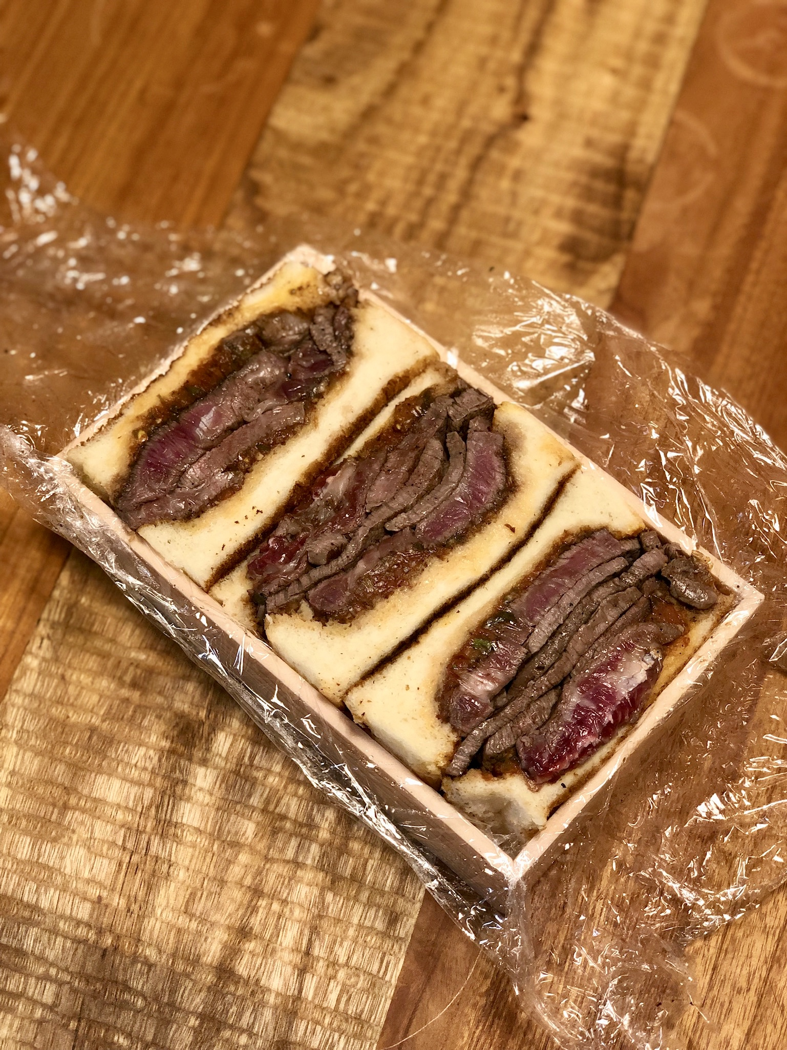 The famous take-out wagyu steak sandwich from Shima