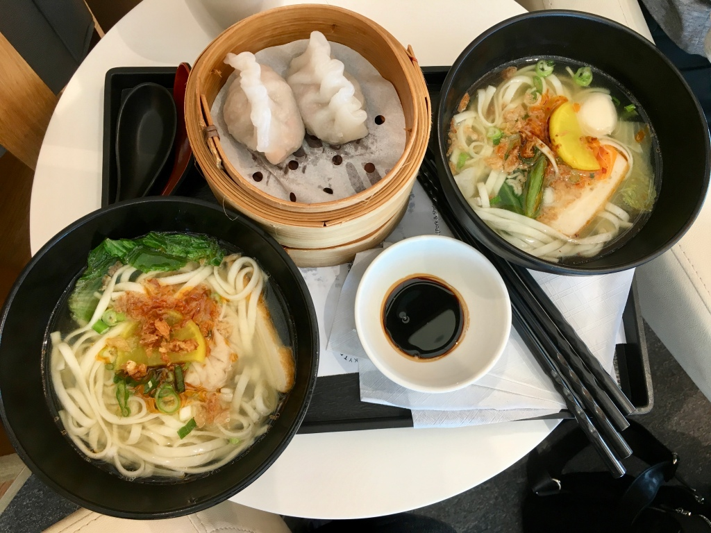 Noodle soup and dumplings