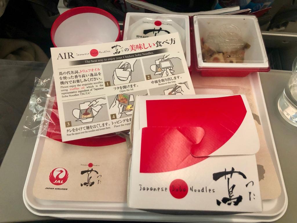 Tsuta soba noodle meal on JAL